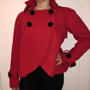 Charles Chang-Lima cherry red coat size 6